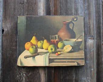 Vintage Wood Still Life Painting / Decoupage Still Life / Kitchen Art / Wall Hanging