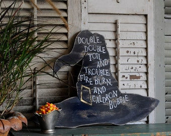 Witch Hat Halloween Party Decor Double, double, toil and trouble; fire burn, and caldron bubble