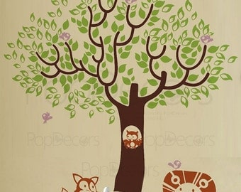 Nursery Tree Wall Decals Animals Wall Stickers Kids Wall Decal - Leaf Tree with Cute Animals - Free Squeegee- Children Wall Arts