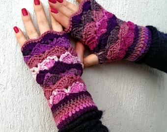 Multi-purple handmade crochet cute mittens shell pattern