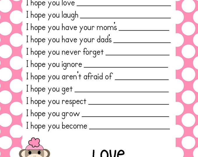 SALE Sock Monkey Pink Baby Shower Game Advice Cards ~ Well Wishes ~ Instant Download Printable PDF File ~Pink Polka Dot Design Boy