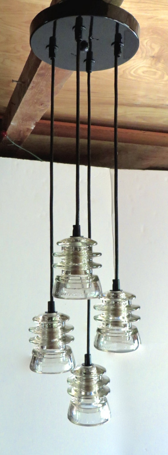Tiered insulator pendant light antique by divinediscoveries for Antique insulator pendant lights