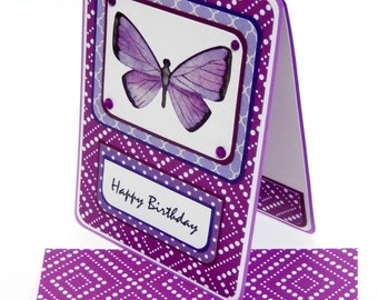 Purple Birthday Card with Matching Embellished Envelope- Purple Butterfly