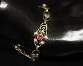 Carl Art Sterling Pink Gem Bracelet Flower Design 12K Vermeil Size 7 Ca. 1970s