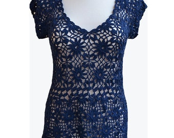 Crocheted top  blouse lace made to order, crochet handmade romantic feminine crochet summer  lace top