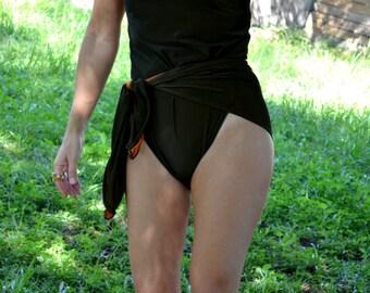 Small Bathing Suit One Wrap Reversible Swimsuit Dark Olive/Orange Wrap Around Swimwear Petite Unique One Piece Badeanzug traje de baño