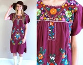 vtg 70s maroon MEXICAN embroidered DRESS Medium colorful ethnic hippie boho festival