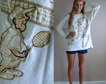 """vintage 80s UGLIEST SWEATER EVER """"tennis grandma"""" knit top os slouchy gold silver ugly metallic jumper"""