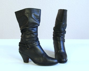 vtg 70s black WILD PAIR motorcycle Harness BOOTS 6.5 black leather rocker slouchy heels boho