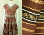 50s/60s - Brown - Metallic Gold - Floral Ribbon - Bric a Brac - Shirt - Circle Skirt - Belt Set - Mexican Patio Dress Set - Fiesta Fashions