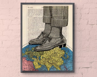 World map shoes collage print - The world at your feet - Wall art decor Poster print upcycled art gift office decor TVH119