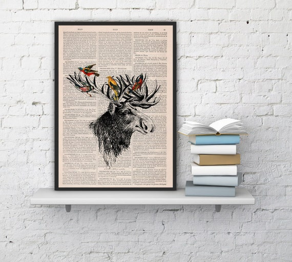 Summer Sale Decorative art Moose head and birds Original Illustration Giclee Digital Art Moose with birds art Wall Hanging ANI204