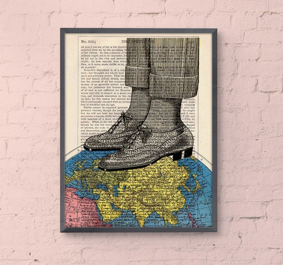 World map shoes collage print - The world at your feet - Wall art decor Poster print upcycled art Dictionary print gift office decor BPTV119