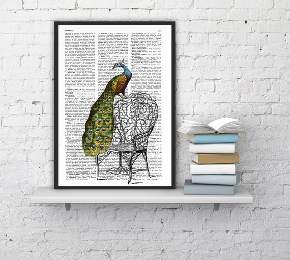 Summer Sale Peacock taking a break Print on Vintage Dictionary Book altered art dictionary page illustration book print  art ANI151