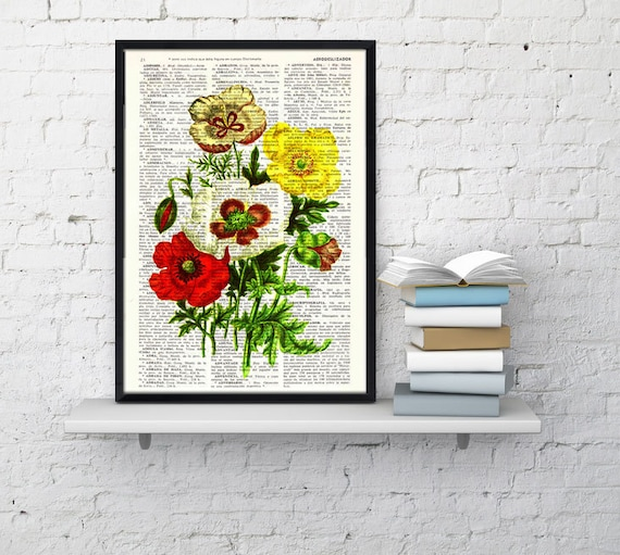 Summer Sale Flower bouquet Vintage Book Print Dictionary or Encyclopedia Page-  Poppy Flowers Bouquet  on Vintage  Book art BFL120