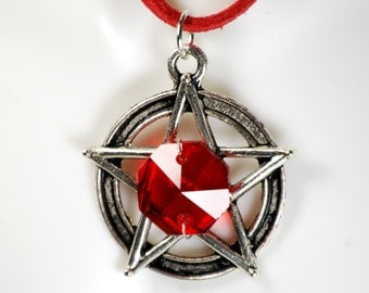 Supernatural, Pentagram, Pagan Jewelry, Wicca Jewelry, gothic pentagram, witch necklace, pentacle necklace, red gothic, fire witch