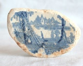 Extra Large Sea Pottery, Blue and White China, Unusal Beach Find, Full Motif, Fruit Pickers Ladder Trees, Lake and Church, Supplies