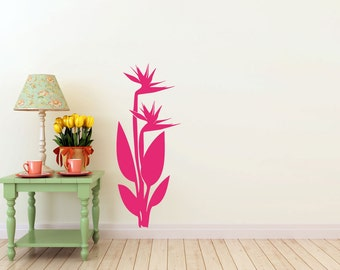 Birds of Paradise flower vinyl Wall DECAL- tattoo, interior design, sticker art, room, home and business decor