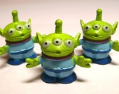 3 Miniature Toy Story Martian Minis - Soft Plastic Hand Painted CUTE