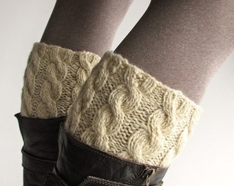 Reversible Hand Knitted Braided Cable Bicolored Boot Cuffs - Two Ways to Use - Boot Toppers, Leg Warmers - Natural Organic Undyed Wool
