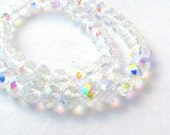 20 Clear Aurora Borealis Rainbow Faceted Crystal Rondelle Beads with AB Finish - Sizes Small, Medium, & Large - 4mm - 8mm