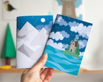 Mountain and Hut on a Hill notebooks - plain pages, A6 size. Gift for stationery lovers, pre teen, teen, or stocking stuffers! Set of two.