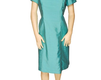 Turquoise Dress with Silver Beaded Neckline Large / 10