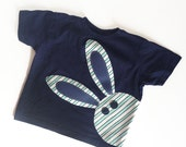 Bunny Rabbit T Shirt for Boy or Girl Unisex Easter Shirt, Navy Blue Aqua