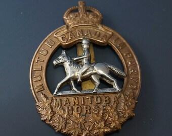 WW1 MANITOBA HORSE hat badge /  Canada military / military/ militaria  2072 hs