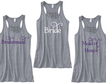 Bridesmaid tank tops. Bridal party tank top. Bridesmaid gift. Maid of honor tanks. Glitter wording. Racerback tanks  Future Mrs. Bride shirt