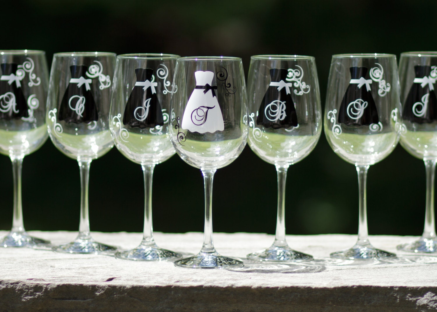 Wedding Party Gifts Groomsmen : Bride and Bridesmaid gift wine glasses dress glasses for