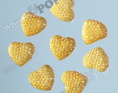 Kawaii Yellow Ice Dazzling Heart Resin Flatback Deco Cabochons, Yellow Heart Cabochons, Sparkle Hearts 14mm (R7-062)