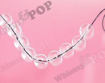 Clear 12mm Gumball Beads, Clear Acrylic Beads, 12mm Beads, 3mm Hole (C1-10)