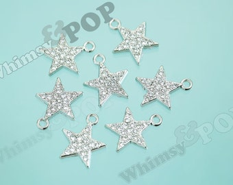 Baby Bling Star Alloy Glass Crystal Rhinestone Charms, Star Charms, 16mm x 18.5mm (6-1C)