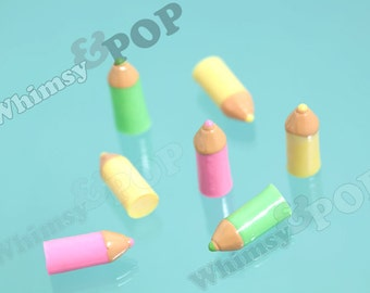 5 - CLEARANCE SALE Back to School 3D Little Colored Pencil Cabochons, Pencil Cabochons, 7mm x 17.5mm (R6-078)