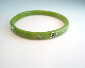 Art Deco Bracelet Carved Celluloid Bangle Vintage 1920s Jewelry Marbled Green Marcasite Silver Paint Embellished