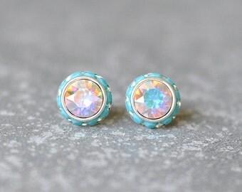 Aurora Borealis Stud Earrings Swarovski Crystal Northern Lights Pastel Rainbow Opaque Turquoise Rhinestone Studs Sugar Sparklers Mashugana