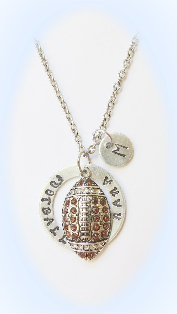 personalized football nana necklace with initial charm brown