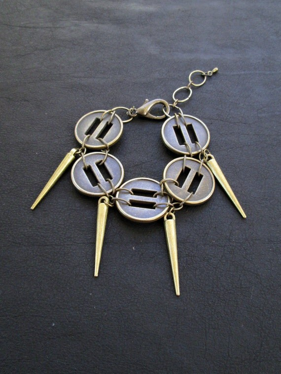 Spike charm bracelet, antique brass tone, recycled buttons, modern jewelry, link bracelet, rocker chic, punk