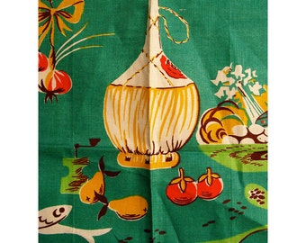 Vintage Tea Towel Green with Wine Bottle and Kitchen Motifs Mid Century Retro Kitsch Towel All Linen Made in Ireland Unused