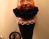 FOLK ART One of a Kind Jack o lantern Pumpkin Ornament Ornie Vintage Style Art Original Primitive HAFAIR