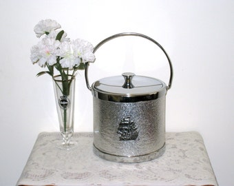 Retro Silver Colored Nautical Ice Bucket With Chrome Lid & Handle / 3-D Clipper Ship / Near Excellent, Clean Condition / Man Cave