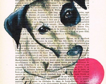 Animal painting Mixed Media Wall art wall hanging Digital Print Acrylic Drawing Illustration Decorative: Jack Russell with bubblegum x