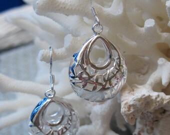 Silver Woven Hobo Bag Earrings