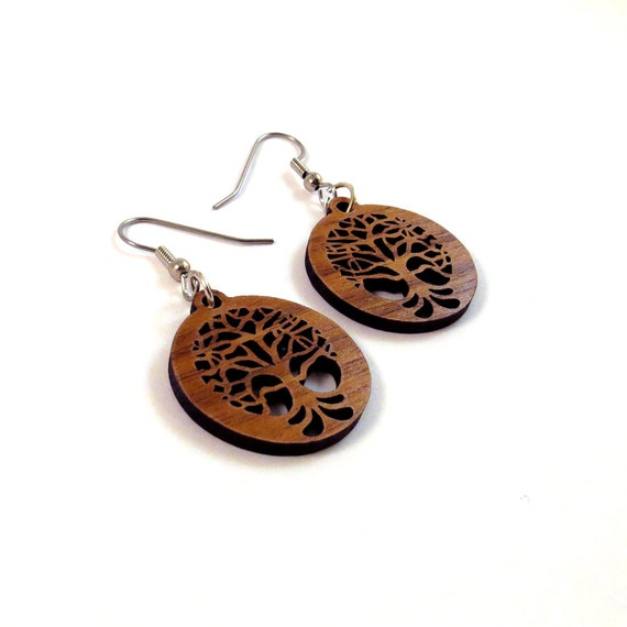 Small Tree of Life Sustainable Wooden Hook Earrings - One Inch in Walnut
