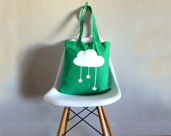 Green tote bag with beautiful white cloud.