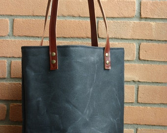Waxed canvas tote | Etsy