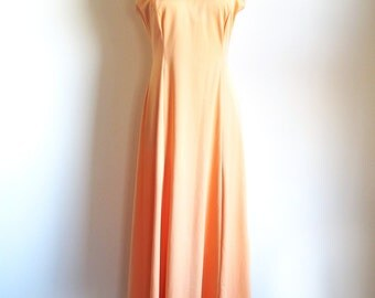 Vintage 70s Orange Gown,  Bias Cut Maxi Dress, Long 1970 Dress
