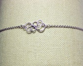 Baroque Knot Charm White Gold Bracelet, Valentines Mothers Day Mom Sister Bridesmaid Wife Birthday Wedding Jewelry Gift