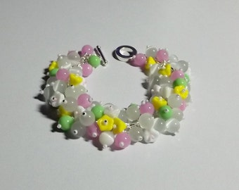 Catseye and Pearl Bracelet, Flowers, Green Pink Yellow, Mom Sister Jewelry Gift, Spring, OOAK, Chunky, Pretty